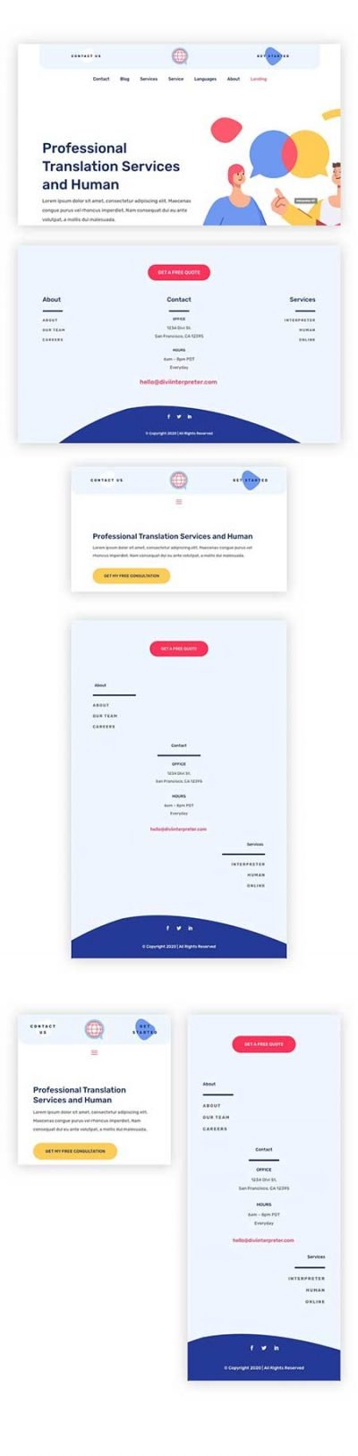 Divi header & footer template