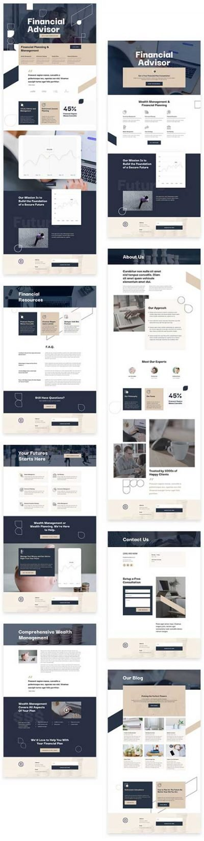 Divi financial advisor website template
