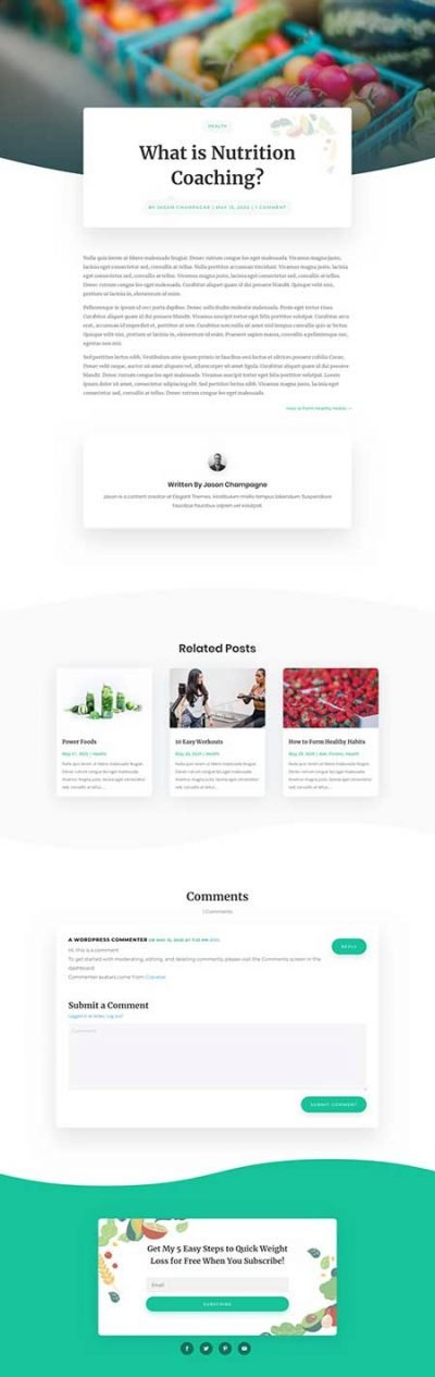 Free Divi blog post template