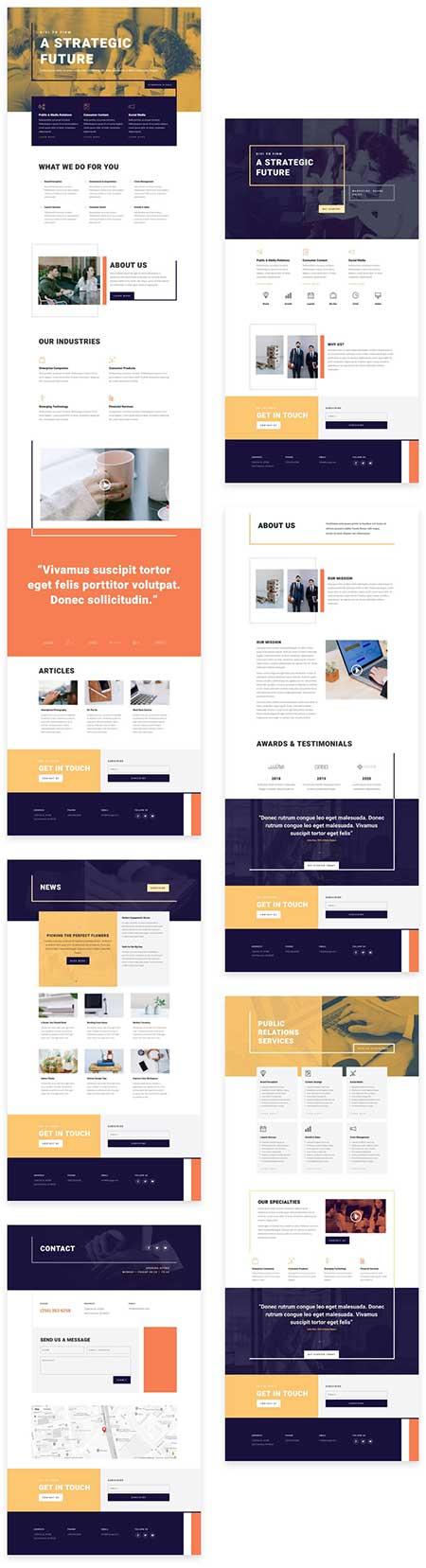 Divi PR marketing website layouts