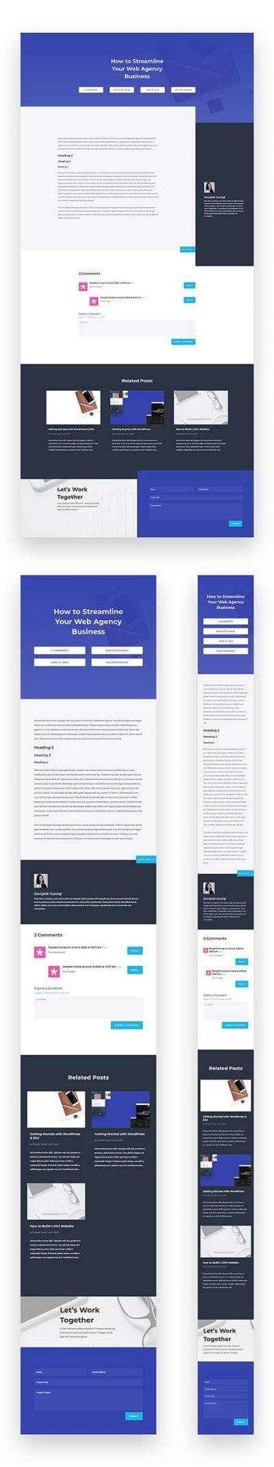 Divi agency blog post template