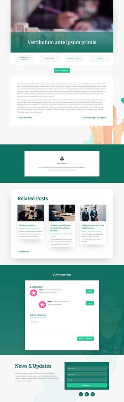 Divi charity blog post template