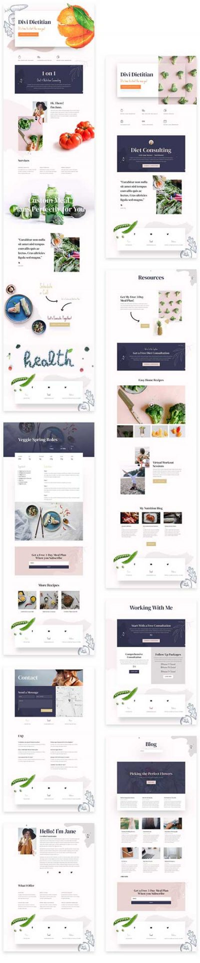 Divi dietitian website layouts