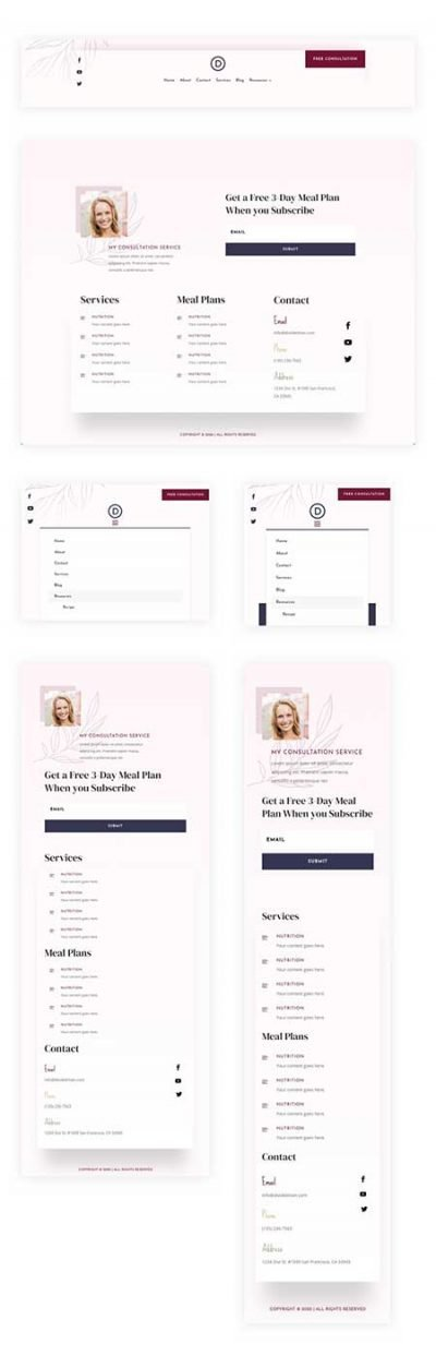 Divi dietitian hear & footer layout