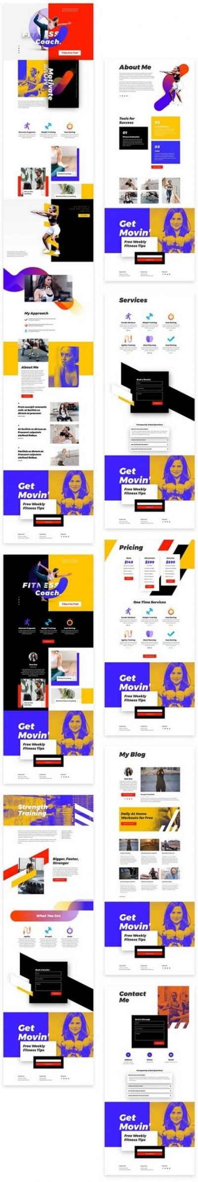 Divi fitness coach layout