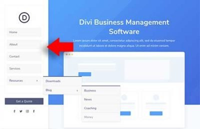 Divi vertical navigation template