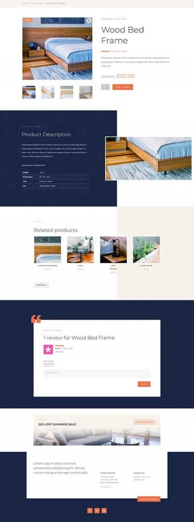 Divi Woo product page template