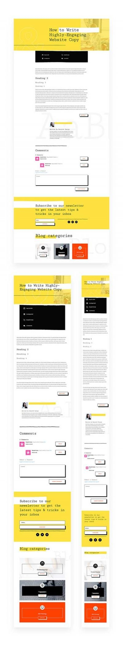 divi writers blog post template