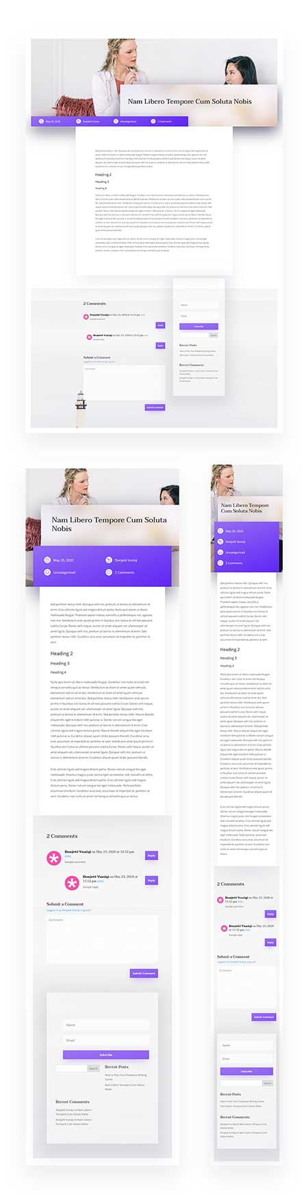 Divi blog post template
