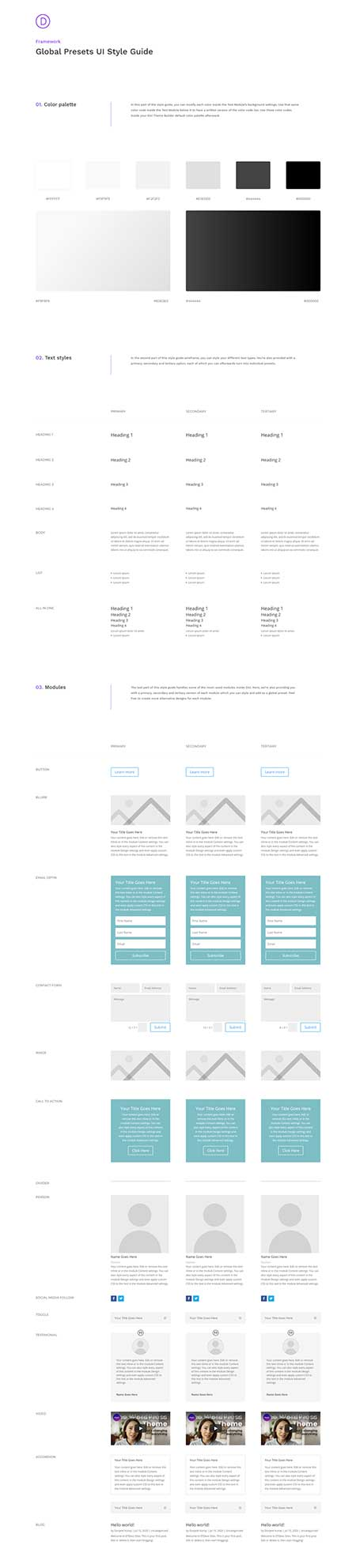 Divi global presets style guide