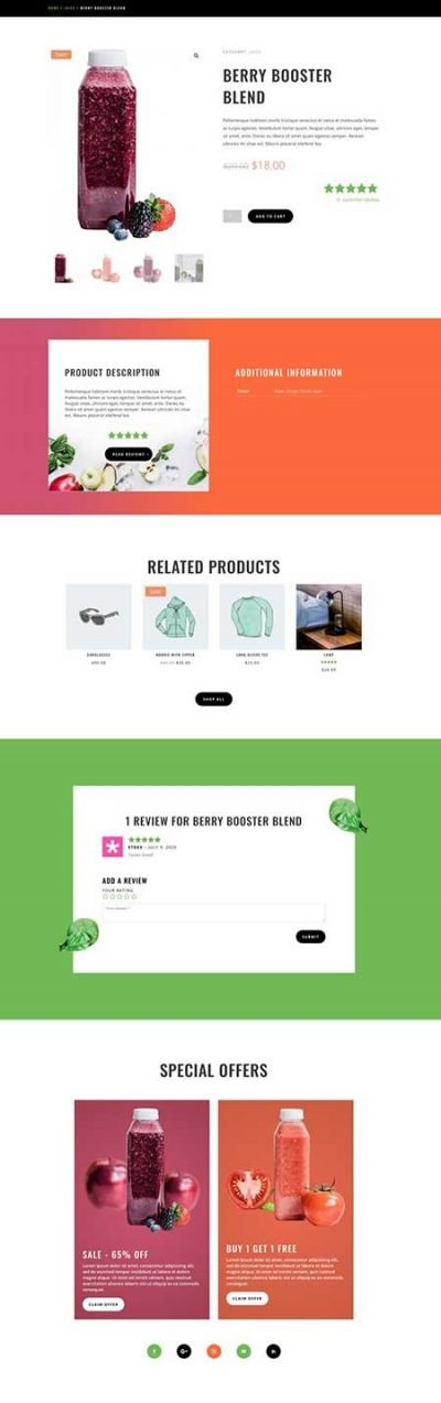 Divi juice shop product page layout