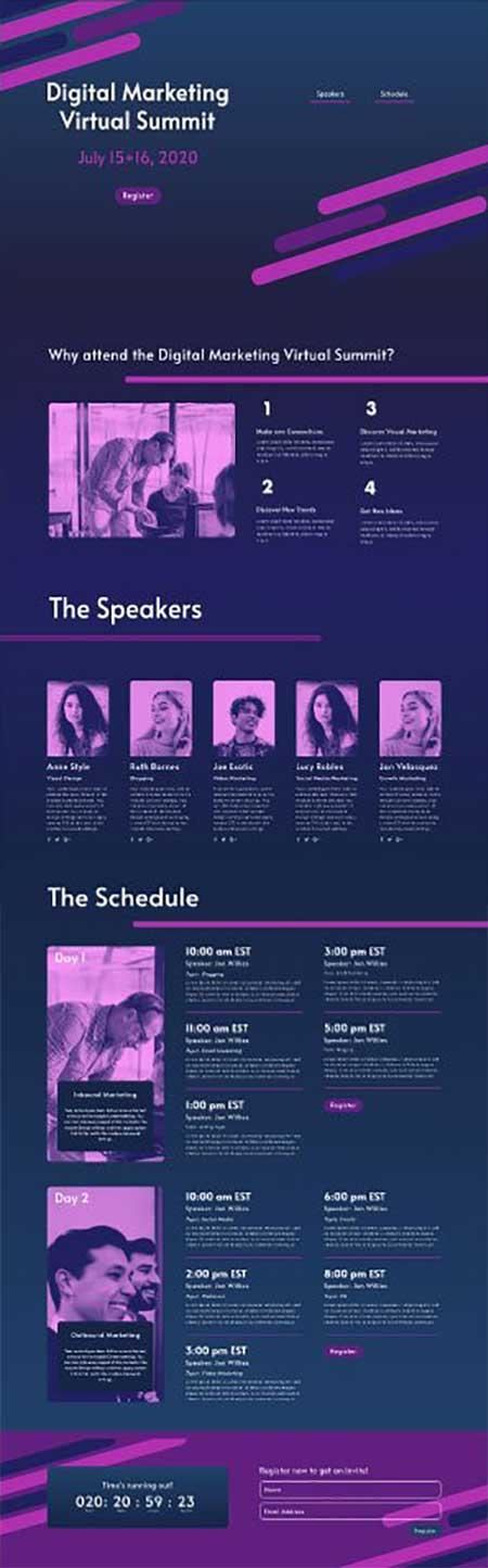 Divi online conference landing page layout