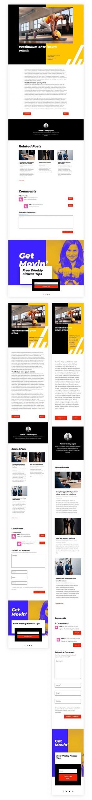 Divi Fitness blog post template
