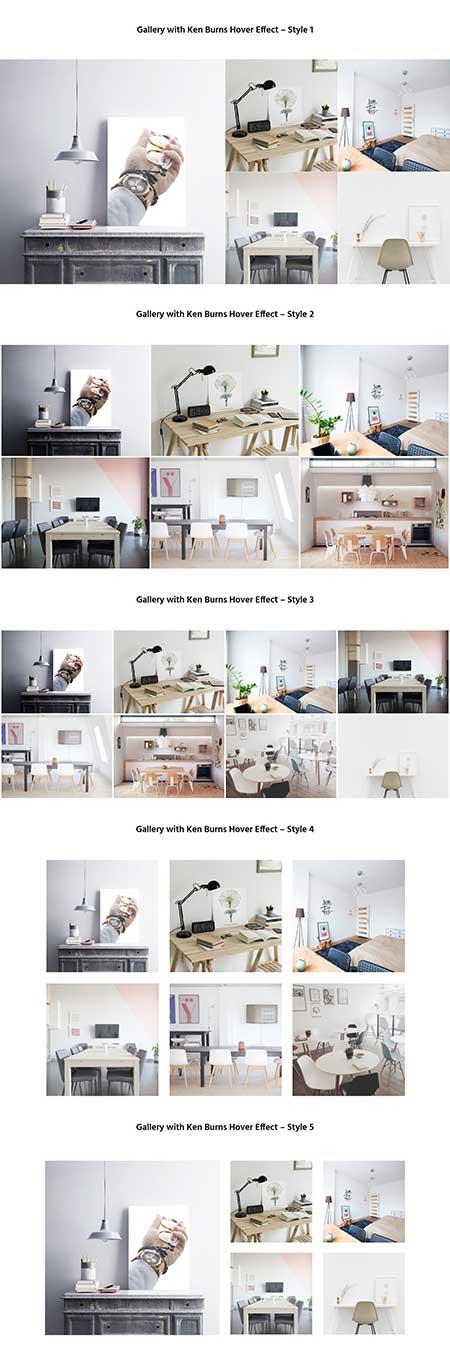 Divi Ken Burns hover gallery layout