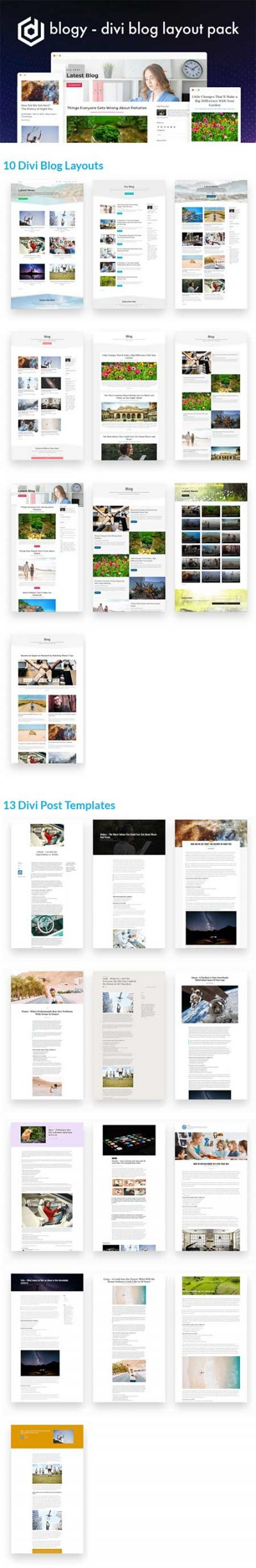 Divi blog page and post layout pack