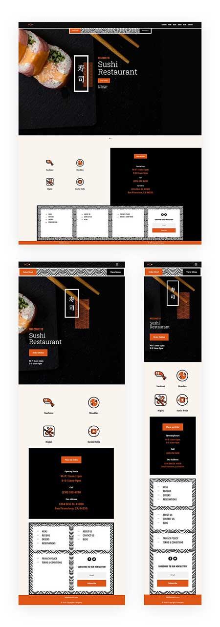 Divi header footer template for sushi website