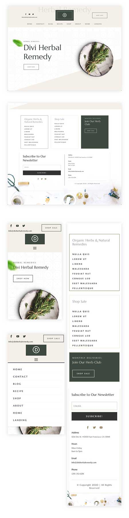 Divi herbal header & footer templates