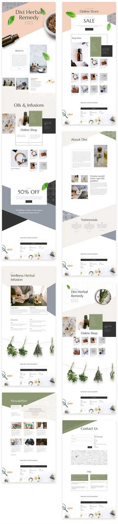Divi herbal store layouts