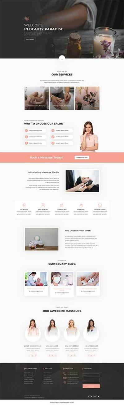 Divi massage page layout