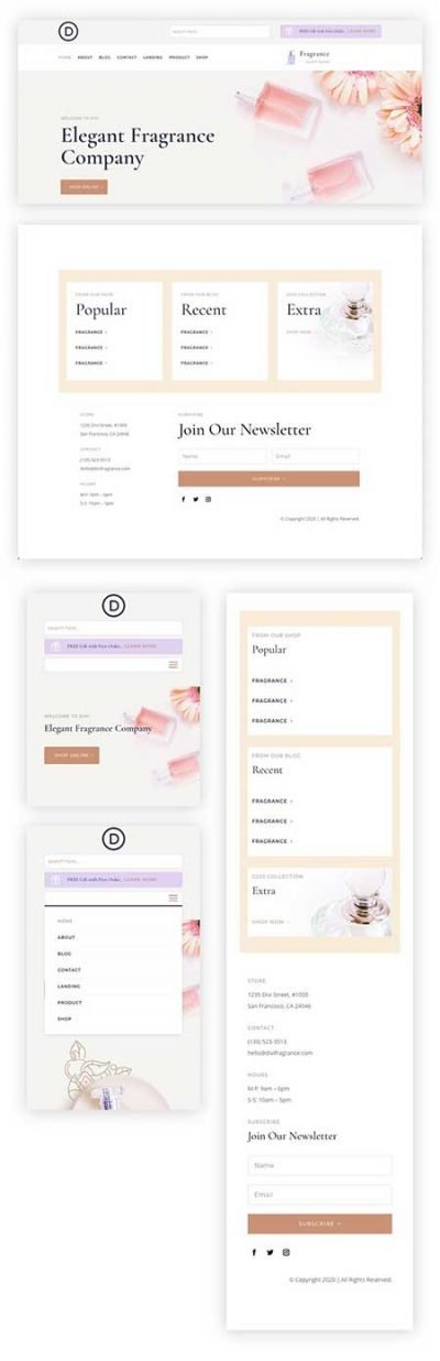 Divi perfumery header footer layouts