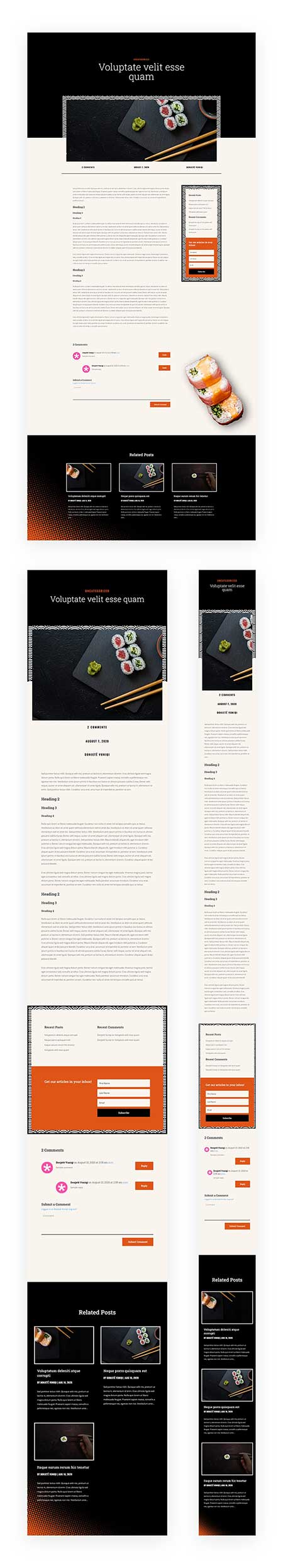 Divi sushu shop blog post template