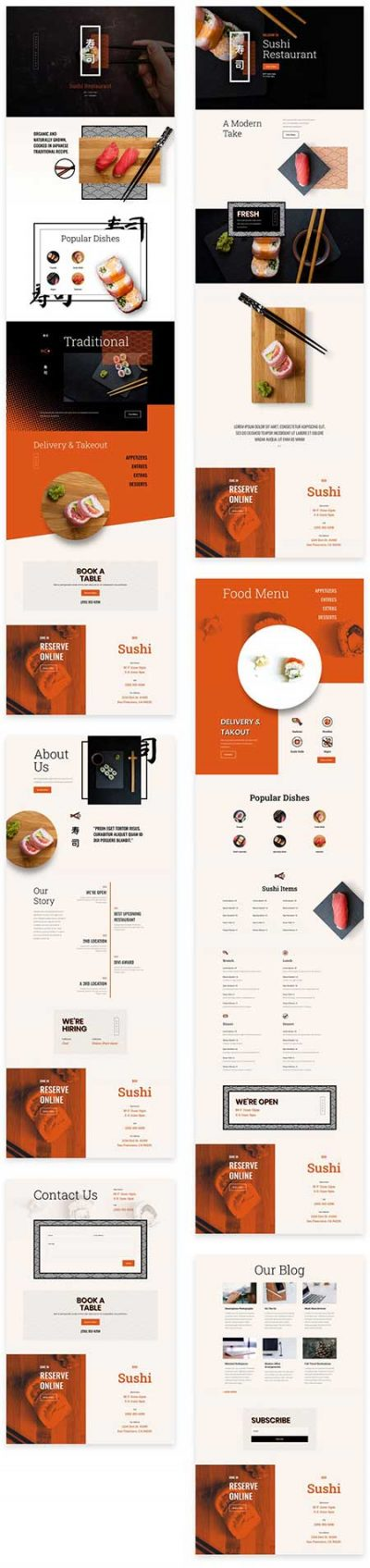 Sushi website layouts