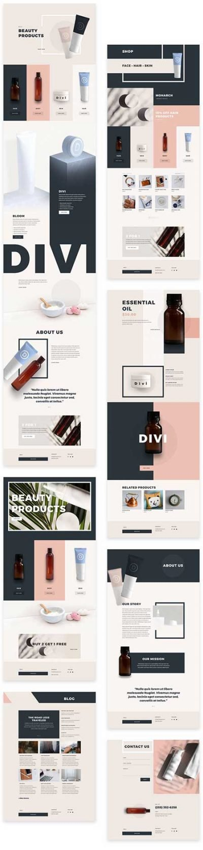 Divi Beauty products templates