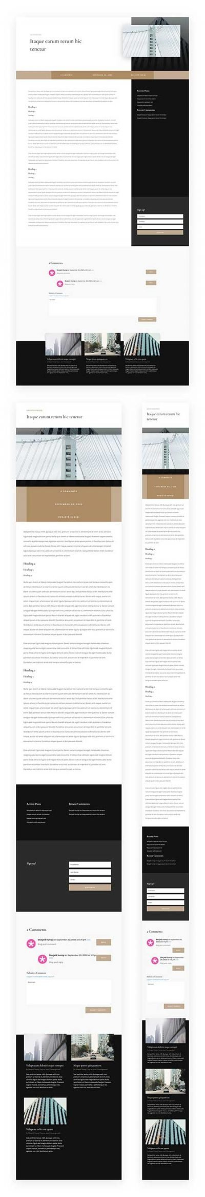 Divi blog post for architects website