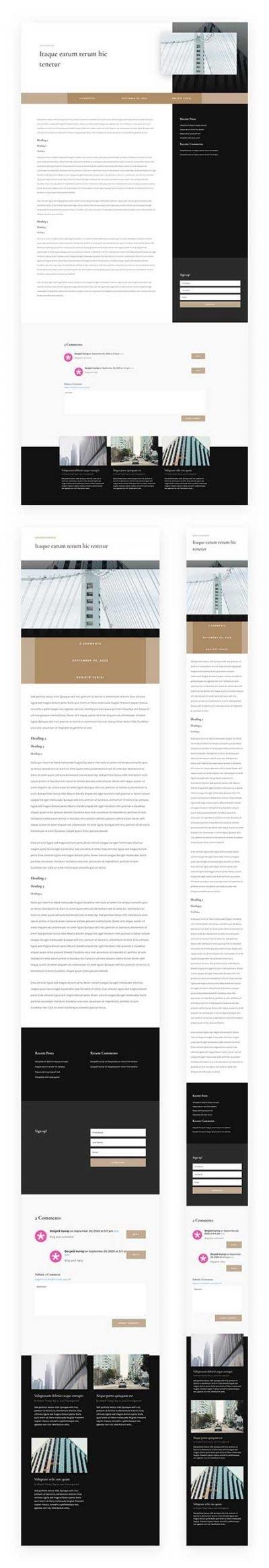 Divi blog post for architects website
