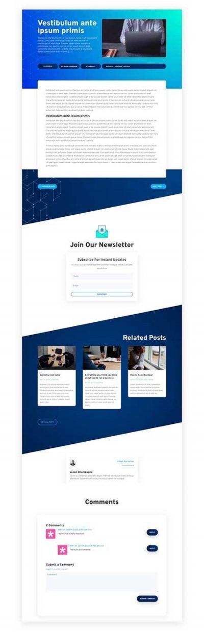 Divi blog post layout