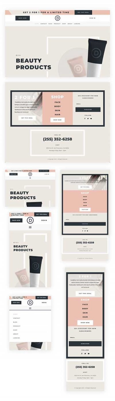 Divi header and footer beaty store