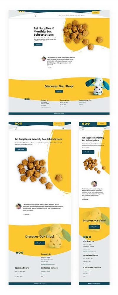 Divi pet shop header footer layout