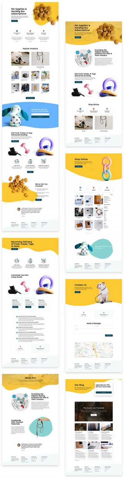 Divi pet shop layout pack
