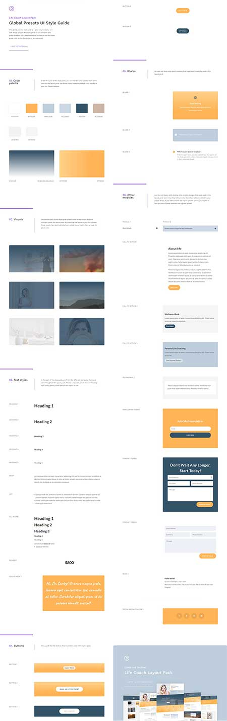 Divi presets for lifecoach template