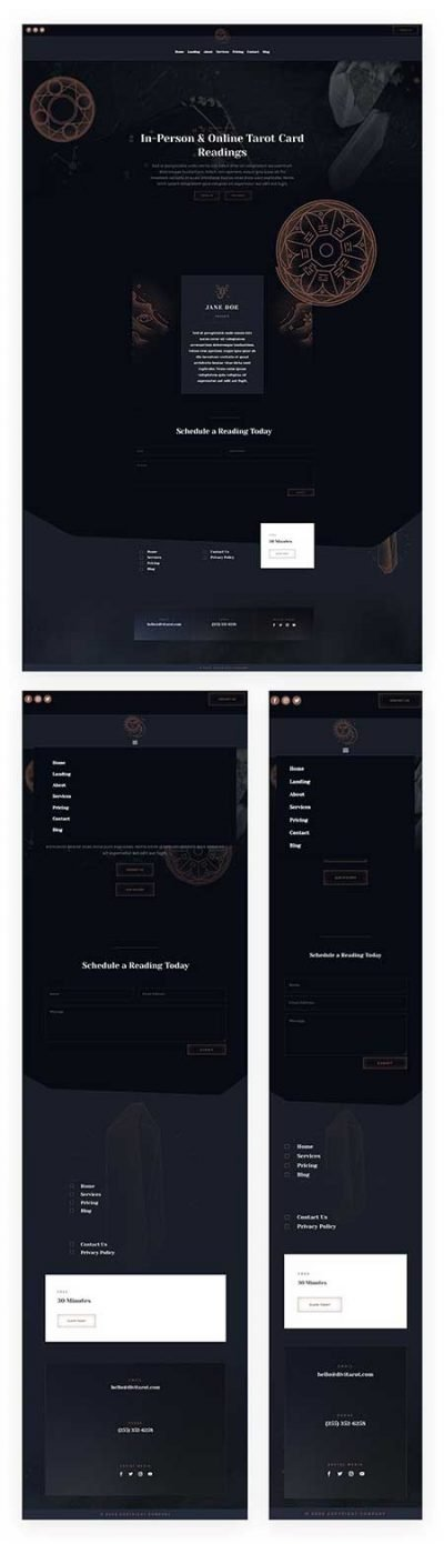 Divi tarot header & footer template