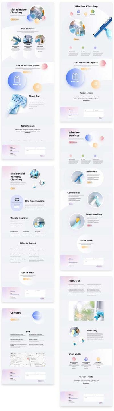 Divi window cleaners website layouts