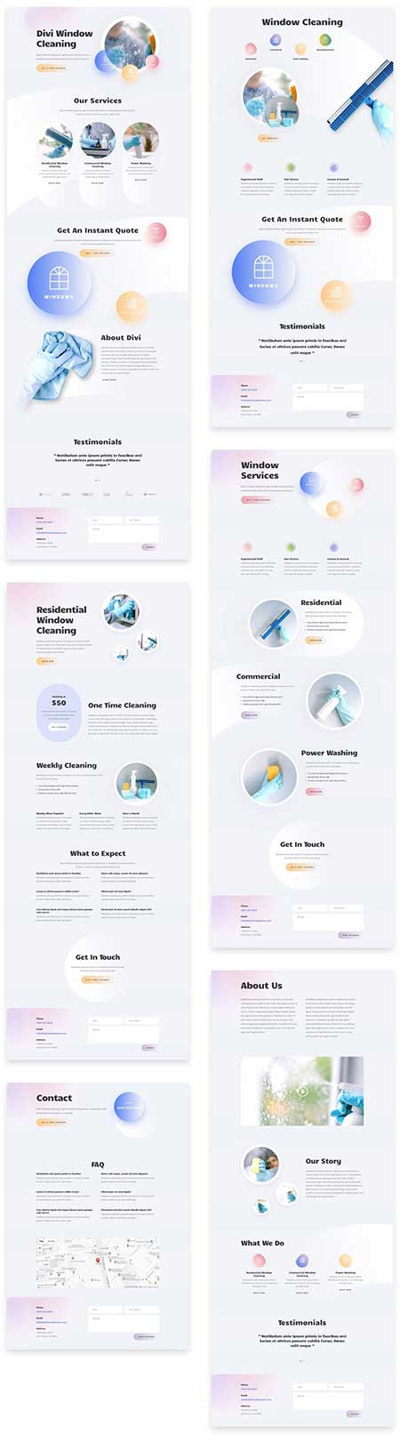 Divi window cleaners website layouts