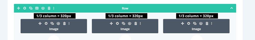 Divi 3 column image size is 320px