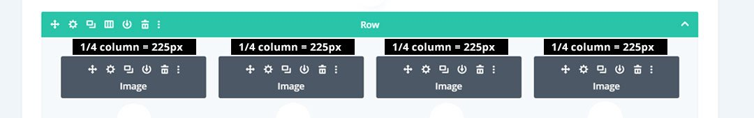 4 column image in Divi is 225 pixels