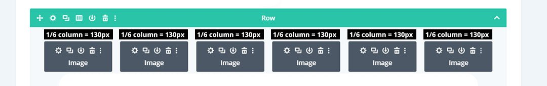 6 column image in Divi is 130 pixels