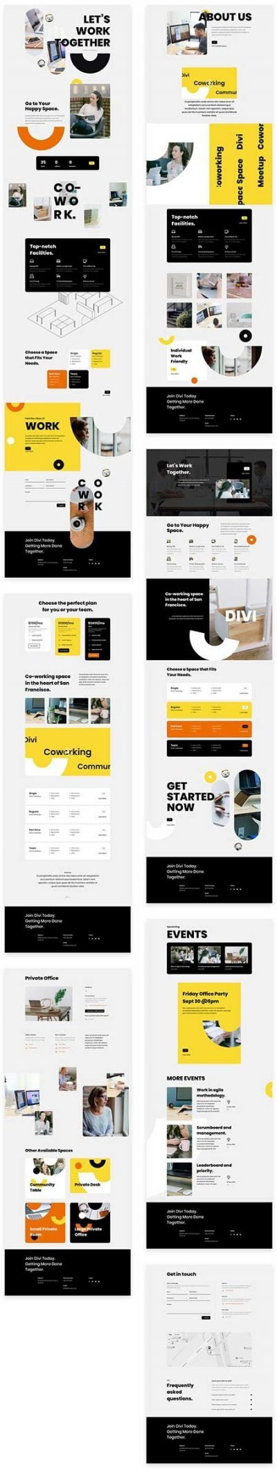 Divi coworking space layout pack