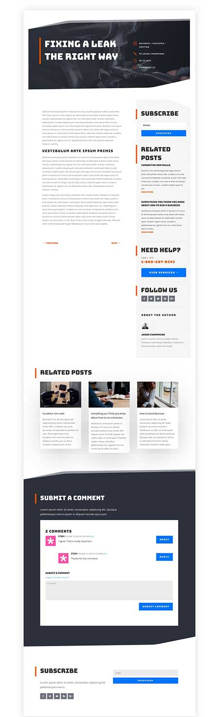 Divi handyman blog post template