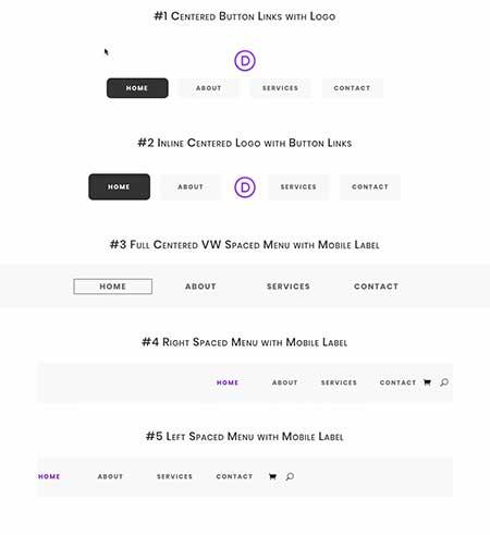 Divi menu module layouts