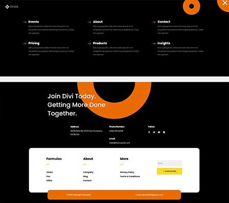 divi cowrok header and footer templates
