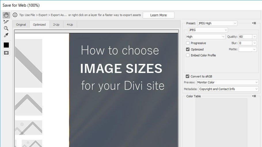 Optimize images for Divi