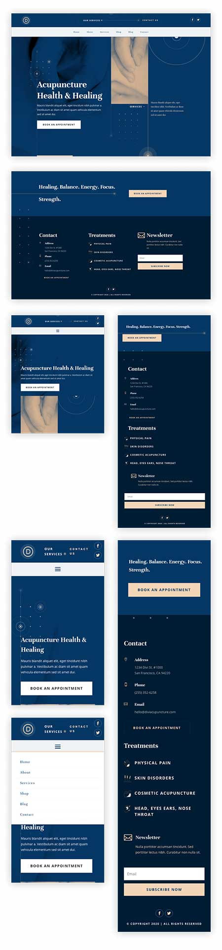 Divi Acupuncture header & footer layout