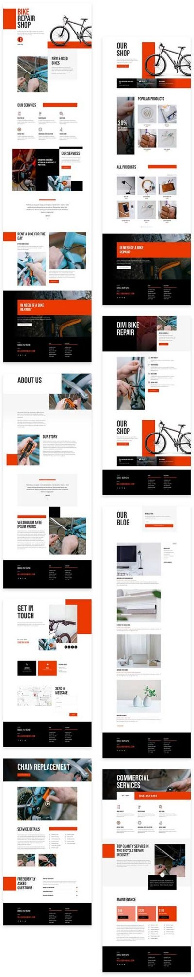 Divi bike shop layouts