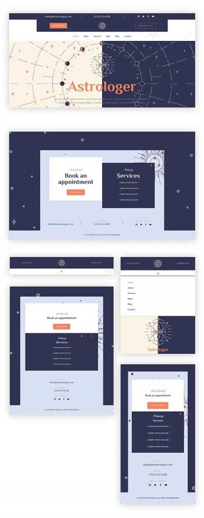 Divi astrologer header & footer