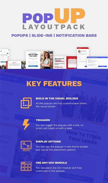 Divi popup layout pack