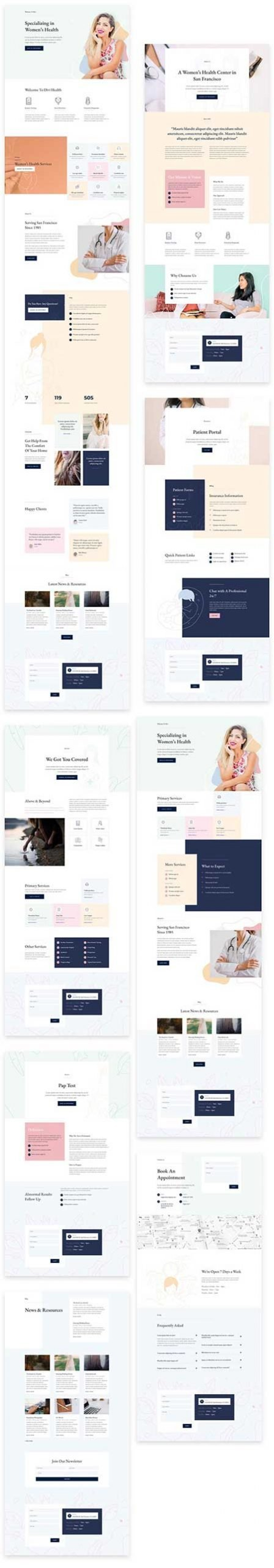 Divi layout for women's medical center